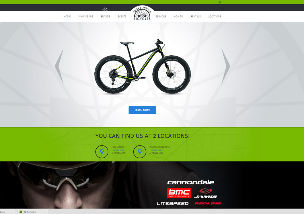 Spoke House Bicycles – Web Design Portfolio Image